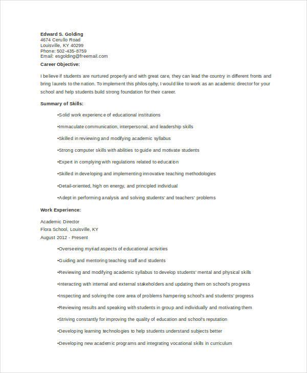 10 academic curriculum vitae templates pdf doc free premium