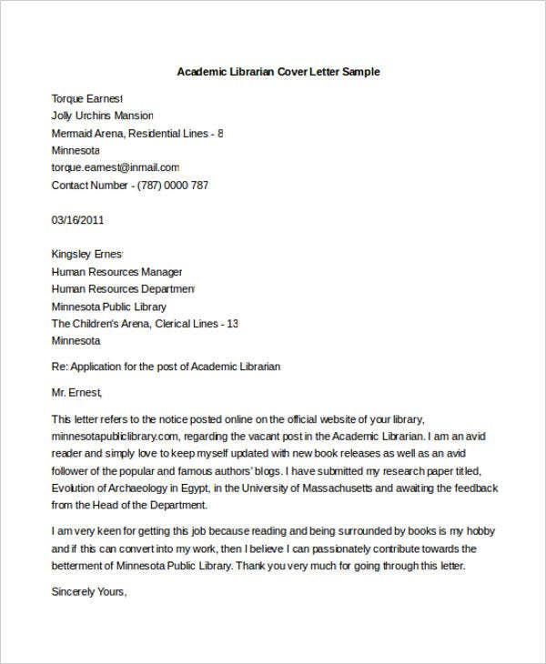 Librarian Cover Letters  Free Sample Example Format Download