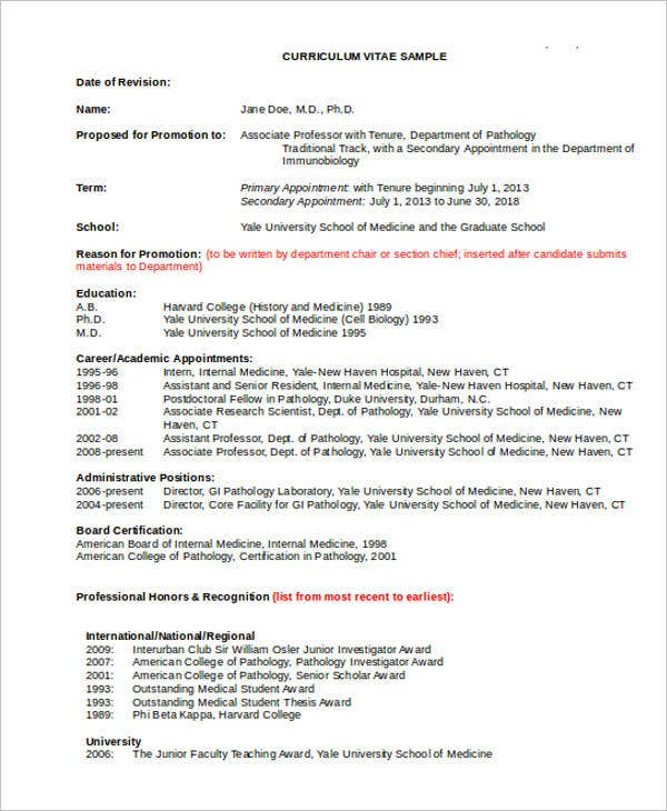 academic medicine - Academic Resume Or Cv