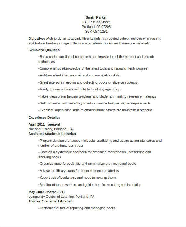 Librarian Resume Templates  Free Sample Example Format