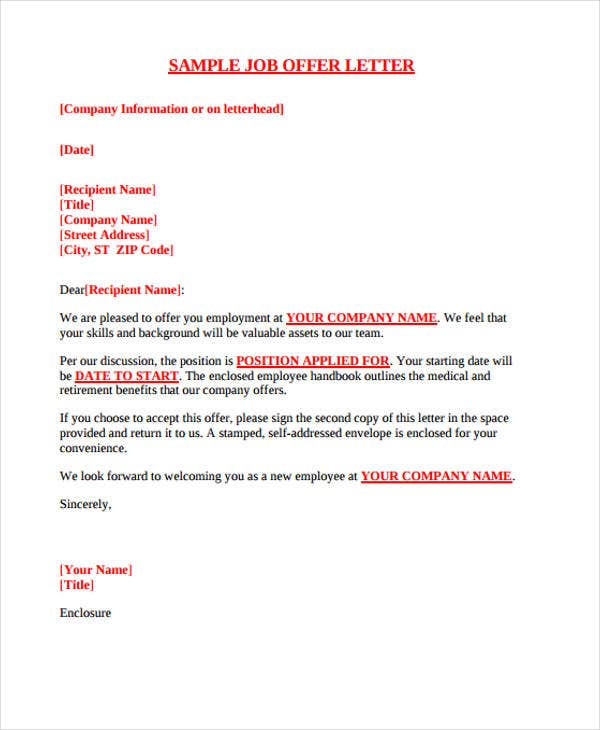 25 job offer letter example free premium templates