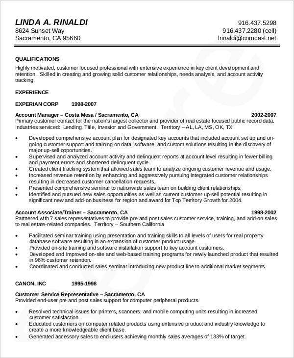 account manager curriculum vitae