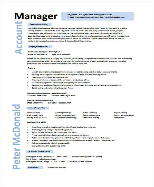 account manager executive - Sample Account Manager Resume