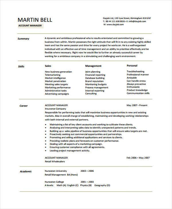 10 Account Manager Resume Free Sample Example Format Download – Account Manager Resumes
