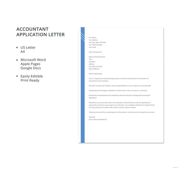 9 Job Application Letter Templates For Accountant Word Pdf