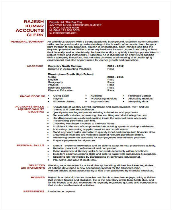 accounting clerk curriculum vitae template