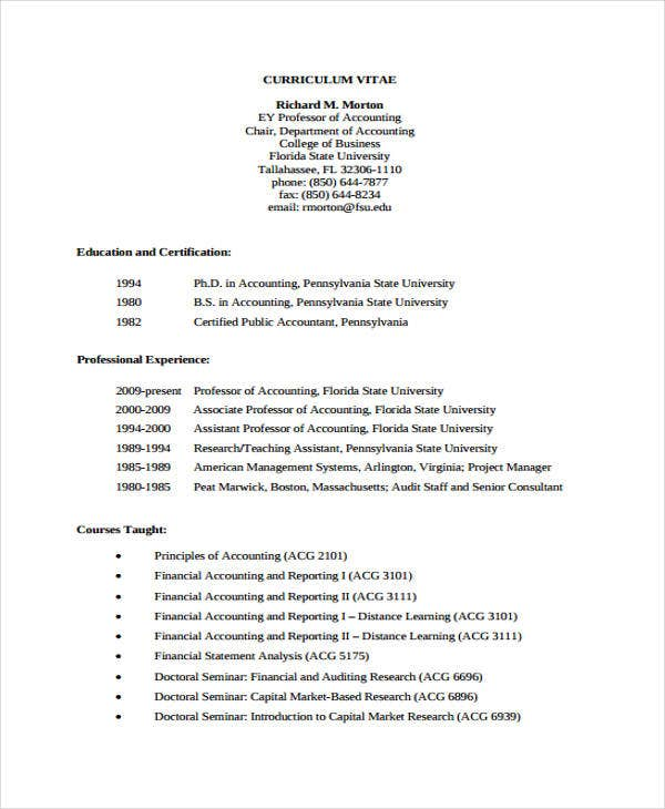 accounting faculty curriculum vitae1