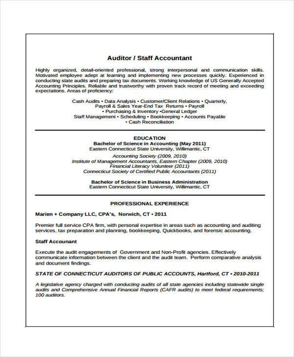 7  accounting curriculum vitae templates