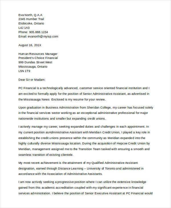 senior administrative assitant cover letter - Financial Cover Letter