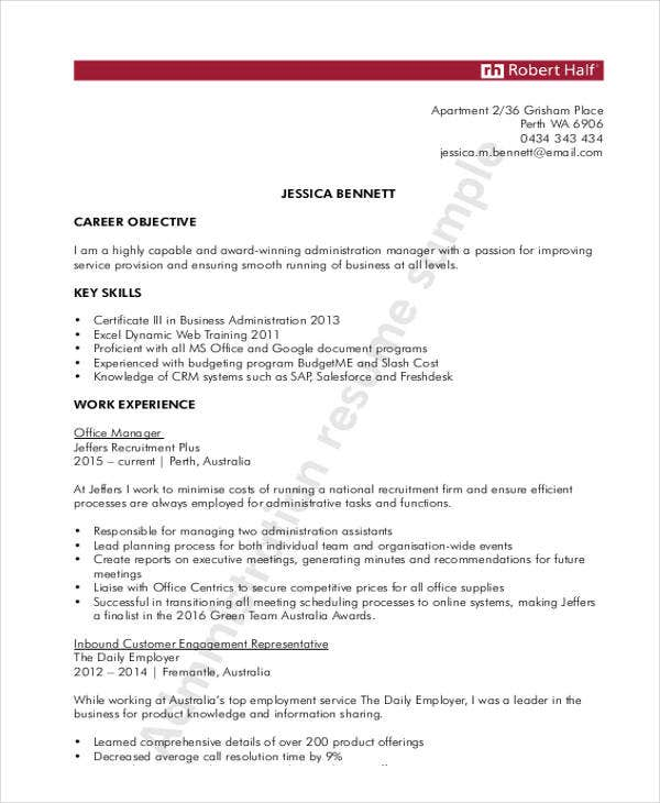 Administration Manager Resume  General Resume