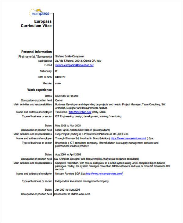 analyst curriculum vitae