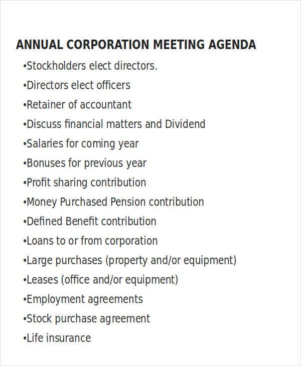 annual corporation meeting agenda