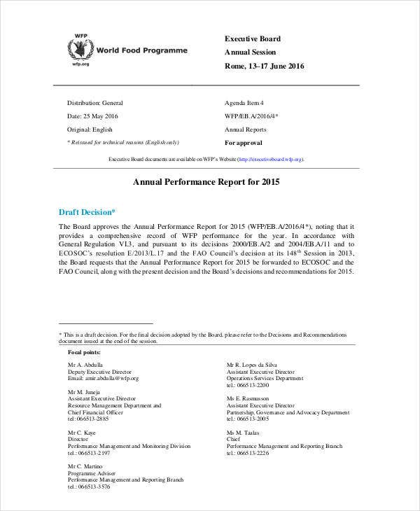 performance report templates 9 free word pdf format