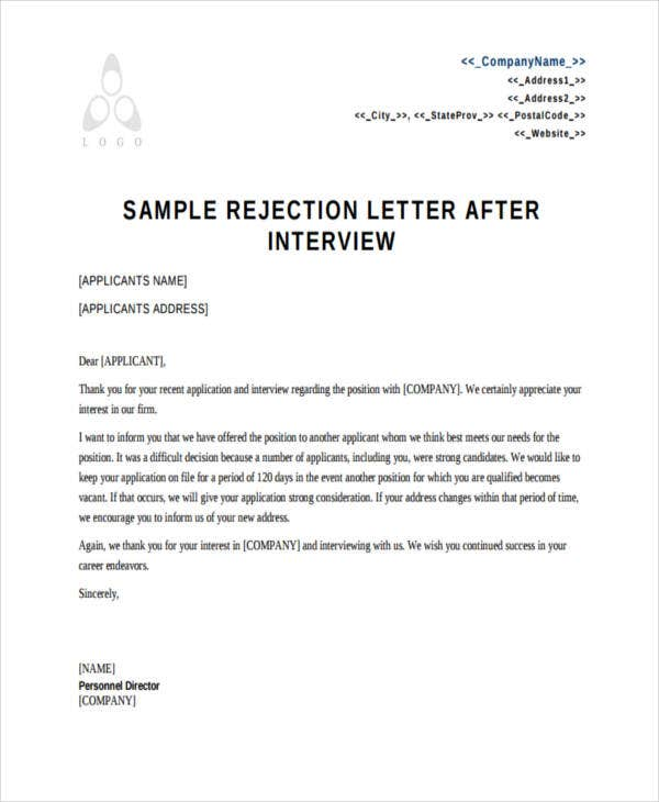 Applicant Rejection Letters  Free Sample Example Format