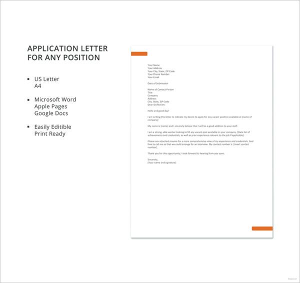 Job application letter for teacher templates 12 free word pdf application letter for any position template altavistaventures Choice Image