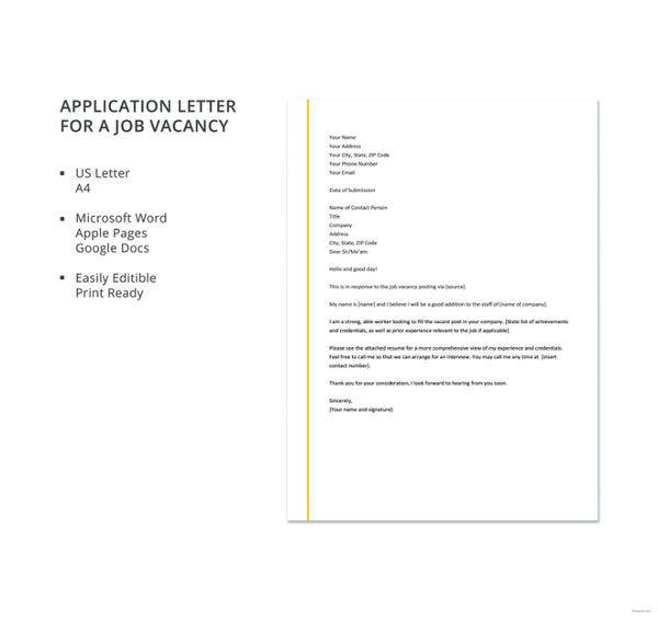 29 job application letter examples pdf doc free premium application letter for a job vacancy template altavistaventures Images