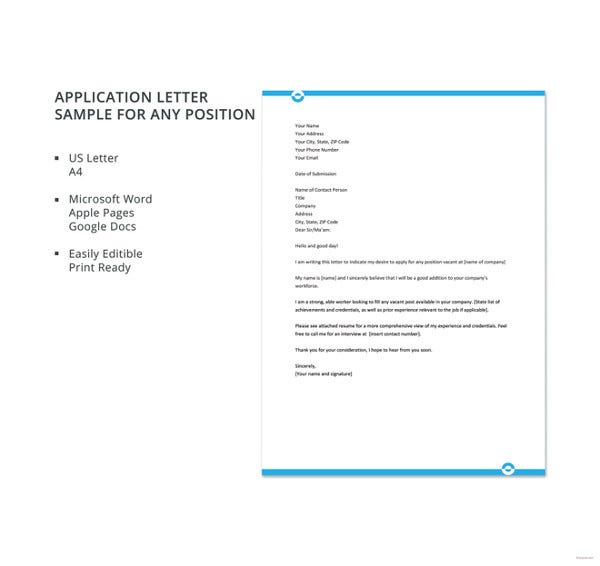 Application-Letter-Sample-For-Any-Position-Template Job Vacancy And Application Letter Doctor on template free, sample effective, template word, graphic designer, copy modern, for un, for chef, sample experience, interest sample,