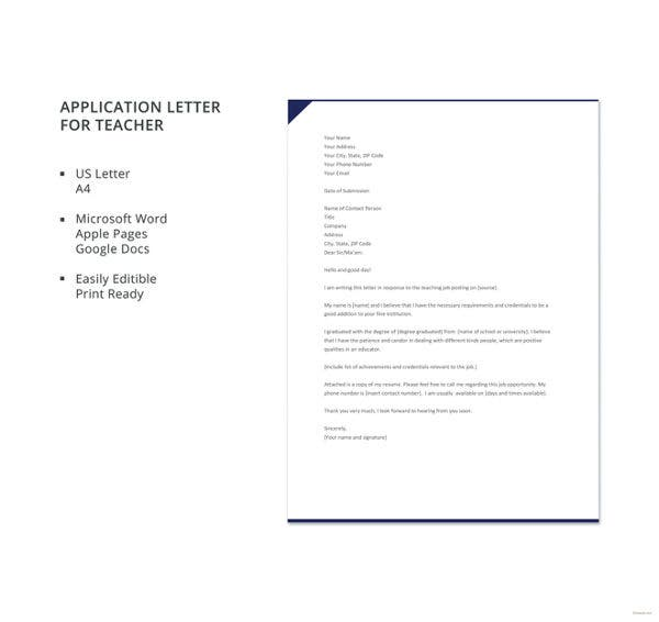 application letter for teacher template
