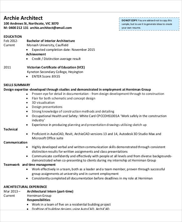 Architecture Internship CV Sample