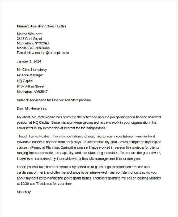 finance assistant finance cover letter samples