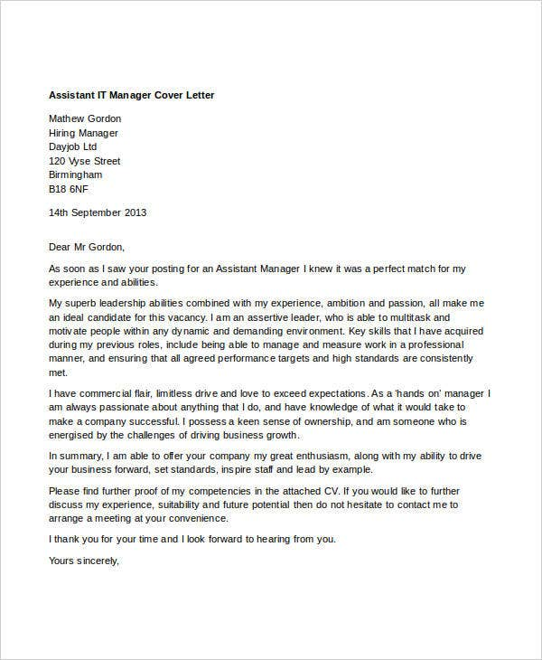 7 it manager cover letter free sample example format download assistant it manager altavistaventures