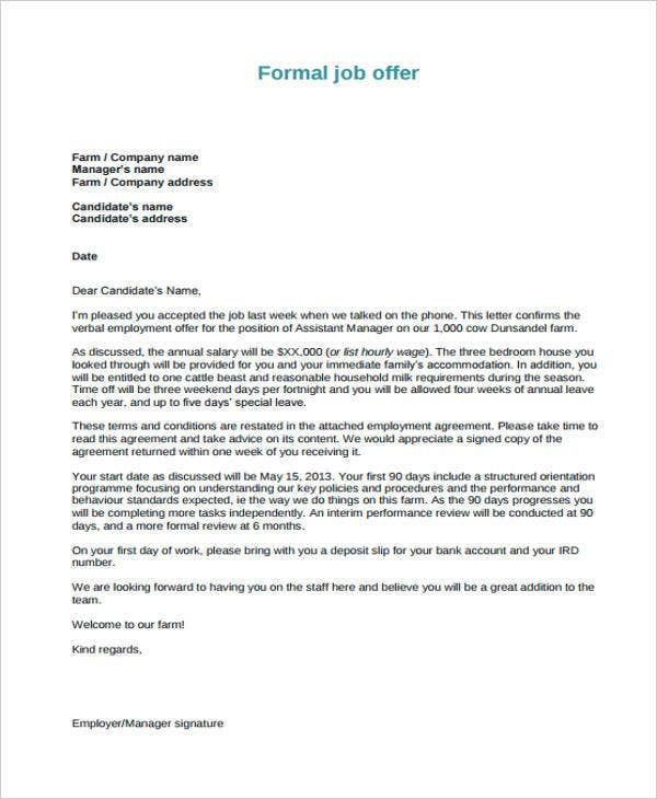25 Job Offer Letter Example Free Amp Premium Templates