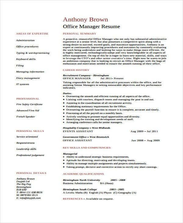 assistant office manager - Sample Office Manager Resume