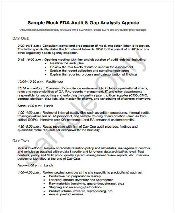 audit agenda template