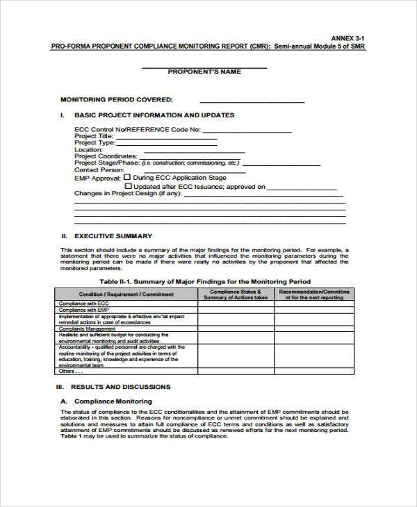 bank compliance report template