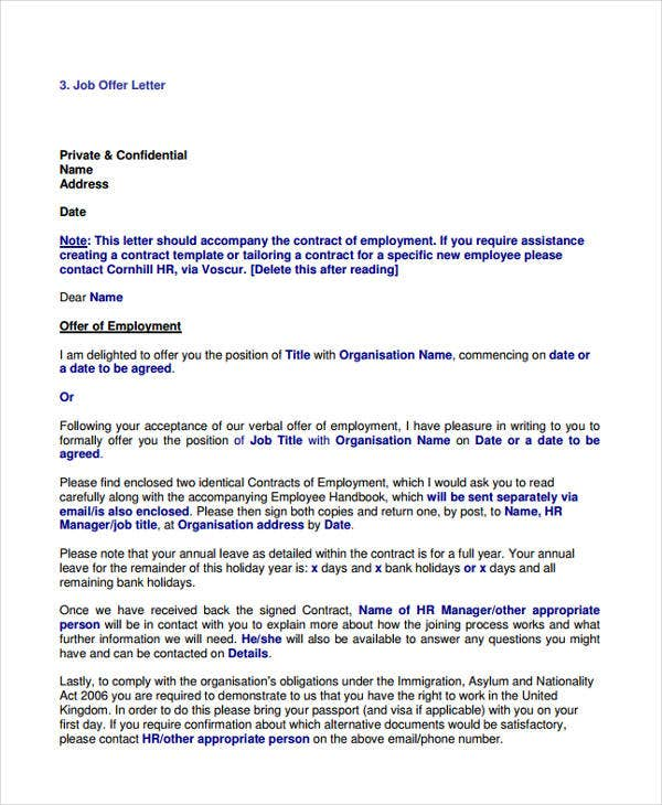 bank job offer letter format