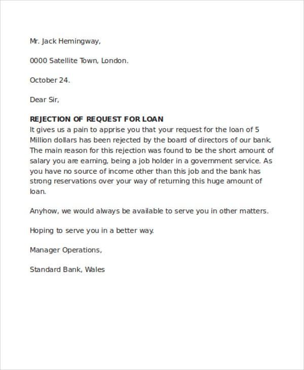 bank loan rejection