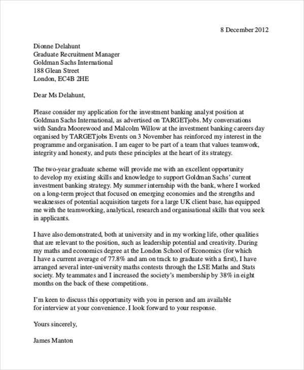 investment banking finance cover letter samples