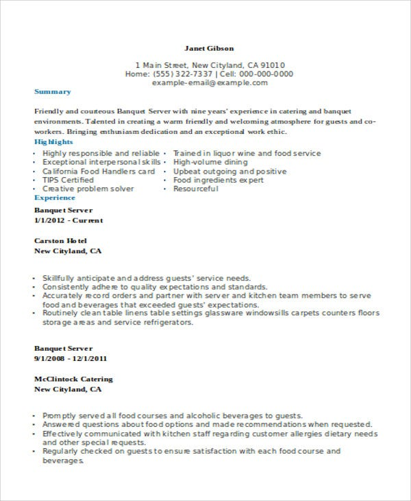 catering server resumes