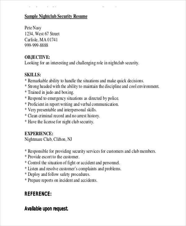 Nightclub Security Guard  Sample Security Resume