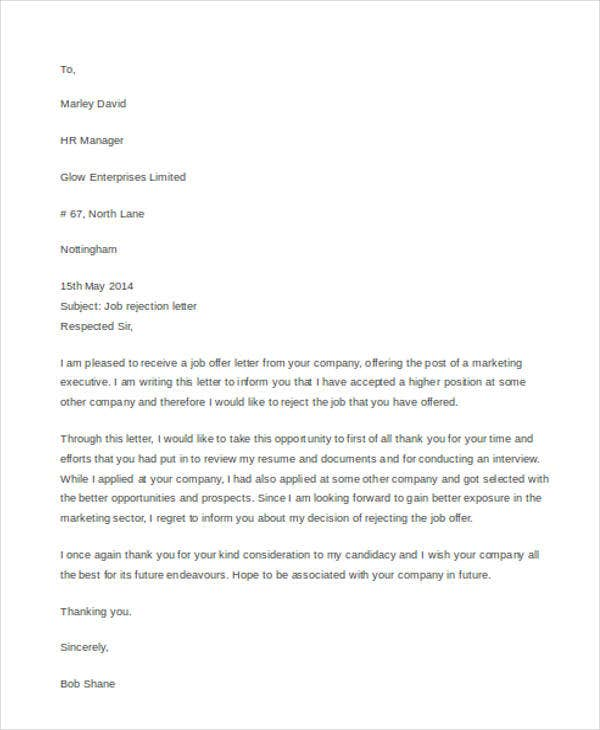 Basic Job Rejection Letter