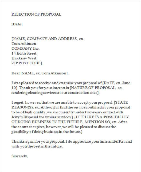 Bid writing services rejection letter
