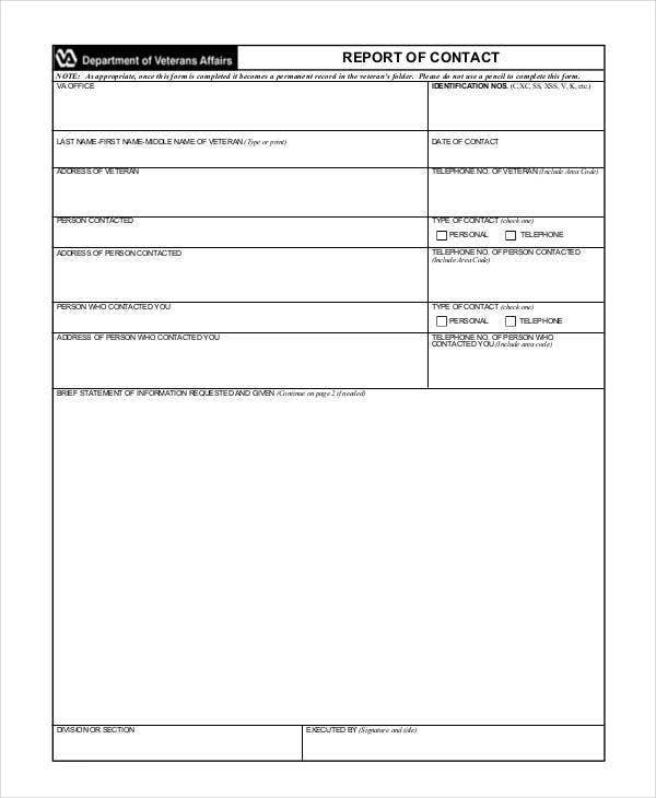 Contact Report Templates  Free Sample Example Format Download