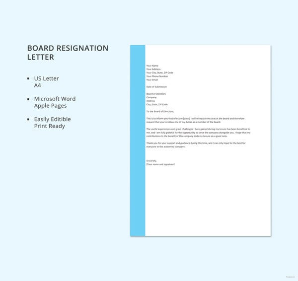 Sample Board Resignation Letter Template  Board Resignation Letter