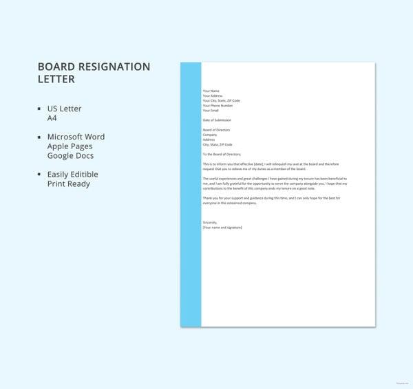board resignation letter template1