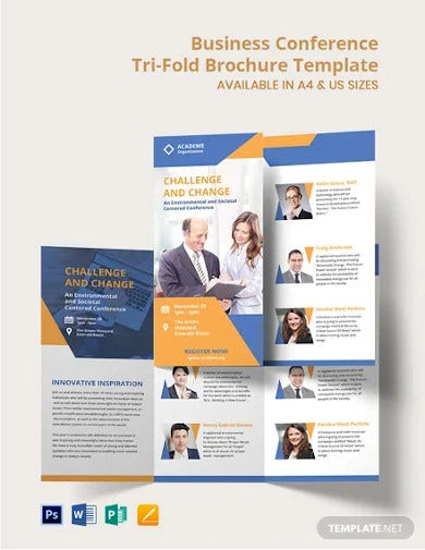 business conference tri fold brochure template