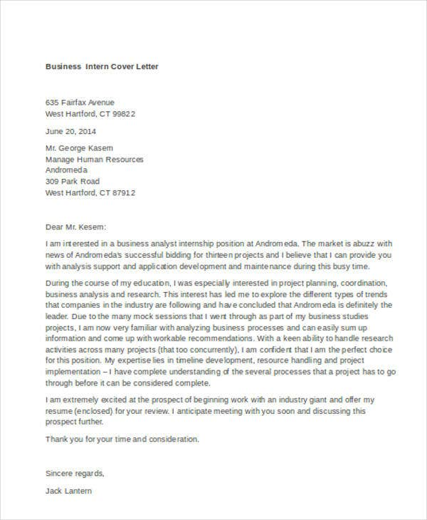 Internship Cover Letter  Free Sample Example Format Download