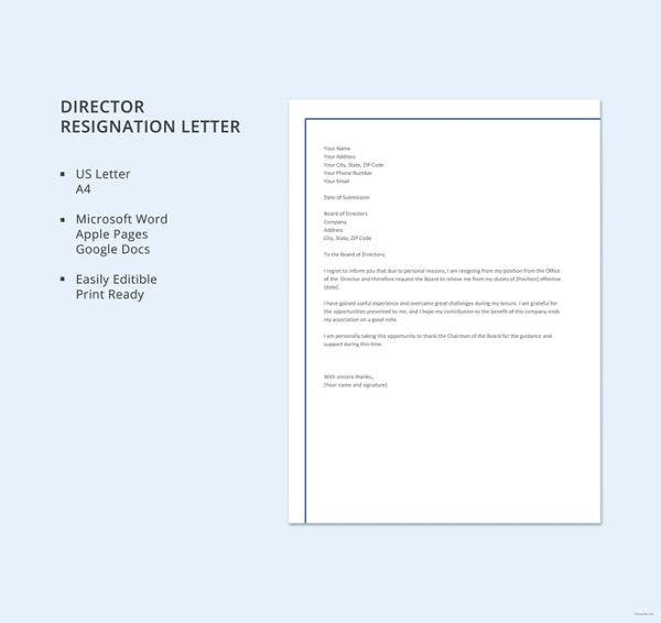business director resignation letter template