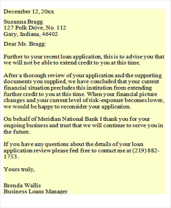 Loan Rejection Letters