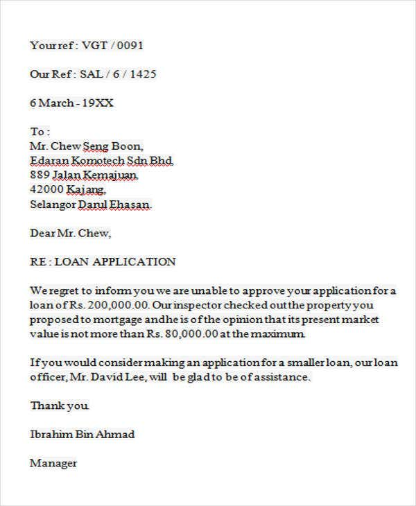 Business denial letter for Loan denial letter template