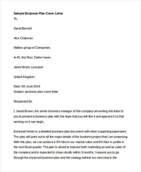 business plan cover letter templates