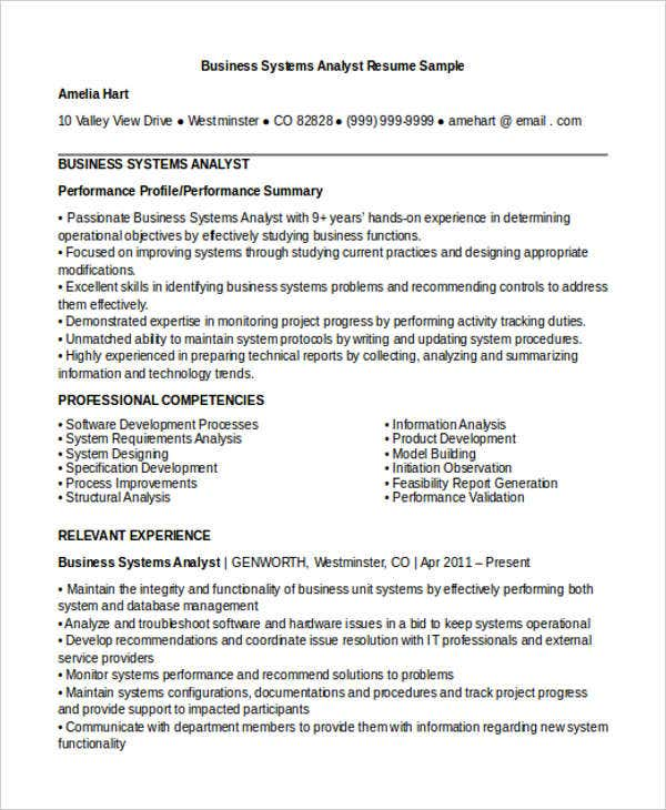 business system analyst cv sample - Business Systems Analyst Resume
