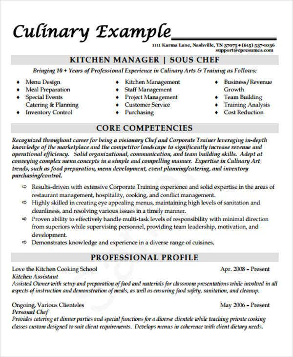 Kitchen Manager Chef Resume Template