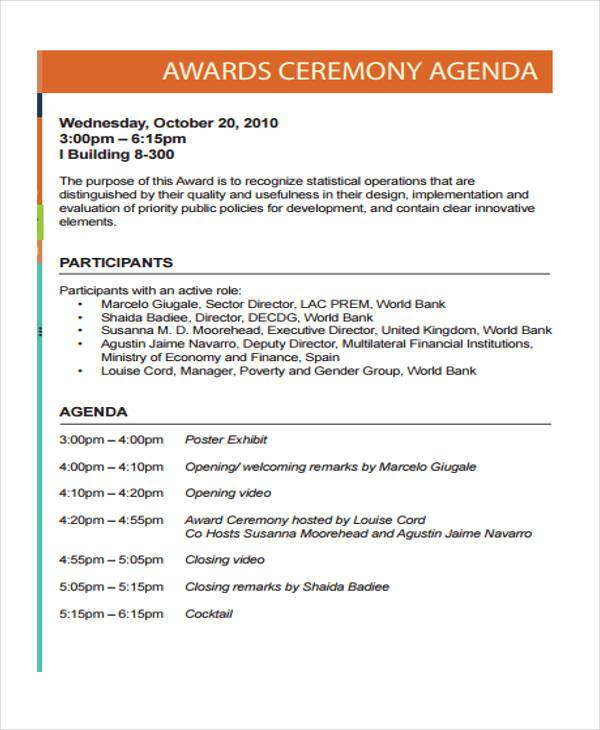 Ceremony Agenda