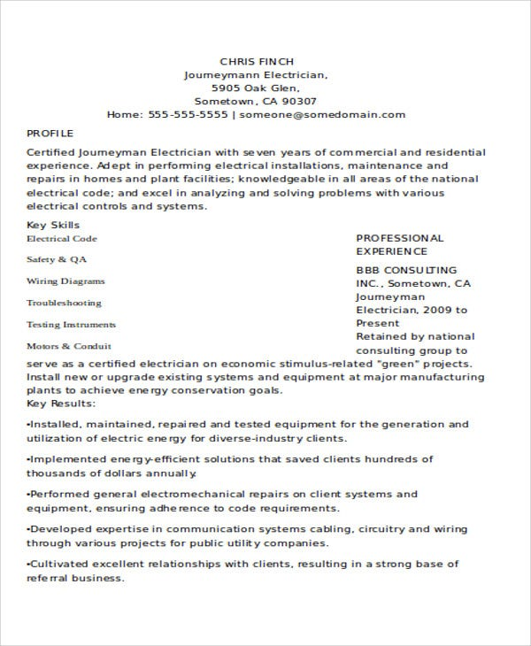 10+ Electrician Resume Templates - Free Sample, Example Format