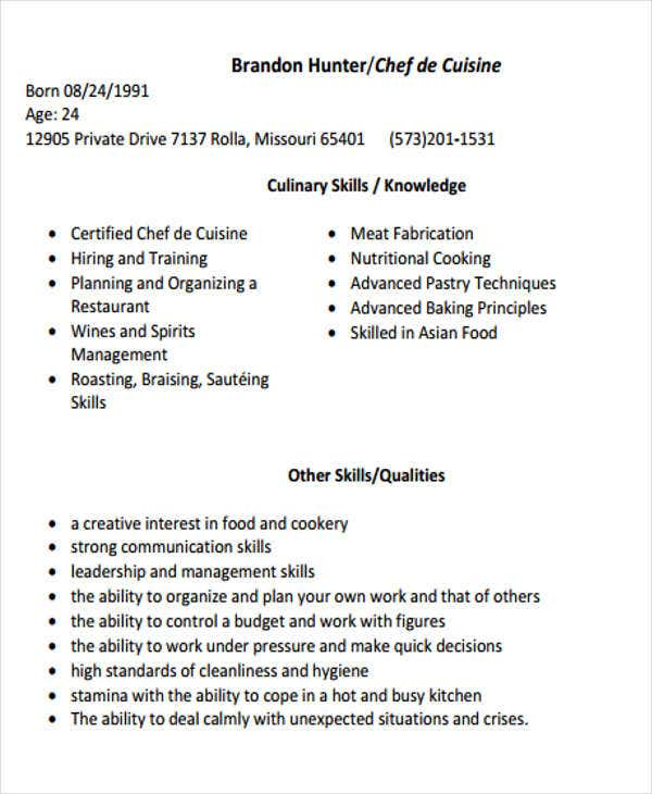 Sample Resume For Chef  Cook Resume Skills